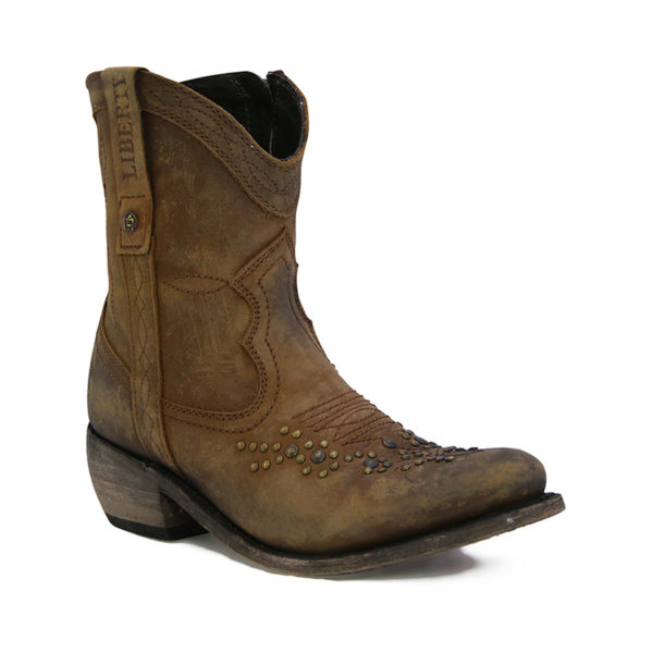 liberty black american tan stud ankle zip boot