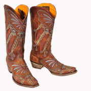 Lakota tall boots brown leather with embroidery as a pair