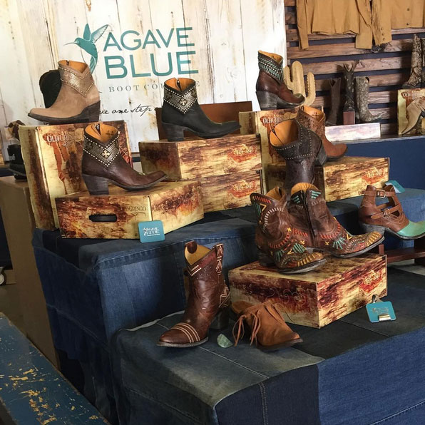 Agave blue product stand at markets