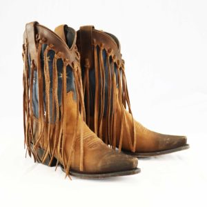 Southern Pride iconic southern cross distressed agave blue fringed mid calf