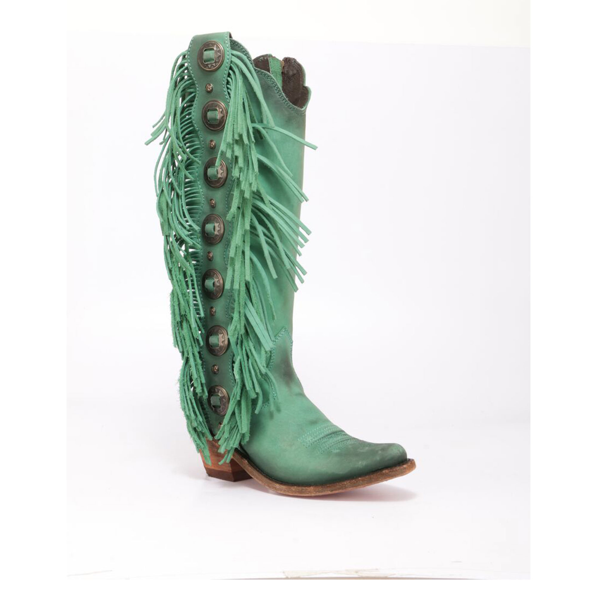 liberty black turquoise fringe boots
